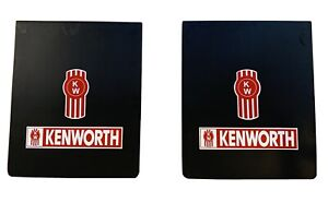Kenworth Mud Flaps Black Red White Logo 24 X 30 Pair Heavy Duty Rubber