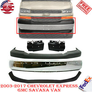 Front Chrome Steel Bumper Kit For 2003 2017 Chevy Express gmc Savana 2500 3500