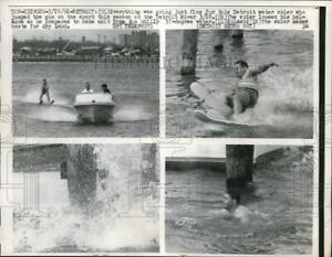 1962 Press Photo Detroit Mich. Water skier on the Detroit river in cold weather $19.99