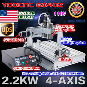us 4 Axis Usb Port 6040 2 2kw Water Spindle Motor Usb Mach3 Cnc Machine 110v
