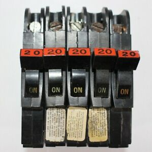 5 Federal Pacific Fpe Stab Lok Thin 1 Pole 20 Amp 120v Breaker Lot Of 5 Tested