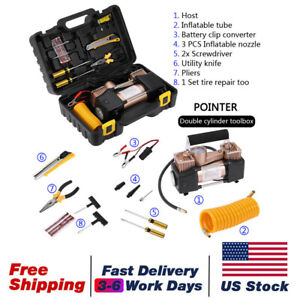 Us Heavy Duty 12v 150psi Car Air Compressor Tire Pump Inflator Double Cylinder