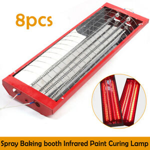 8pcs Infrared Paint Curing Lamp Halogen Baking Heating Light Spray Booth 2000w