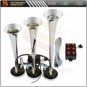For Car Truck Boat 3 Trumpet 6 Tune Musical Air Horn With Wired Remote