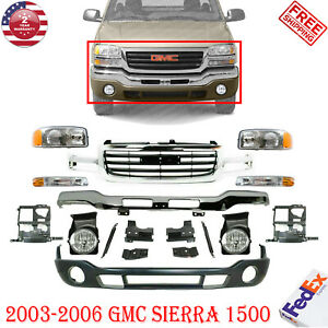 Complete Front Bumper Chrome Kit With Brackets For 2003 2006 Gmc Sierra 1500