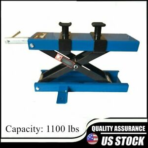 Wide Deck 1100 Lb Motorcycle Center Scissor Lift Jack Hoist Stand Bikes Atvs