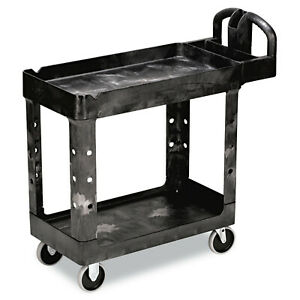 Rubbermaid Commercial Rcp450088bk Heavy duty Utility Cart 2 shelf Black