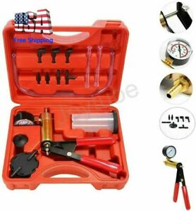 16pcs Brake Bleeder Kit Hand Held Vacuum Pump Tester With Adapters For Auto