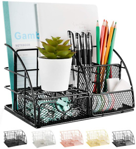Aupsen Desk Organizer Mesh Office Supplies Desk Accessories Features 5 Compart