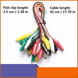 10 50pcs Crocodile Alligator Clips Double ended Wire Test Leads Jumper Cable