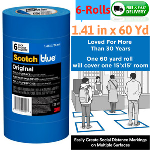 6 Rolls Multi Surface Painters Masking Paint Tape Arts Crafts 1 41 X 60 Yd Blue