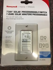 Honeywell 7 day Solar Programmable Switch Rpls540a White New