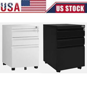 39cm 3drawers Rolling File Cabinet Wood Office Holder Document Storage Organizer