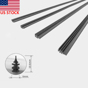 Us Stock 2pcs Car Bus Silicone Universal Windshield Frameles Wiper Blade Refill