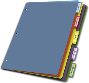 Cardinal Plastic Binder Dividers Without Pockets 5 tab Insertable Multicolor T