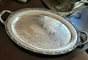 Large Oval Silver Plated Serving Platter Tray With Handles