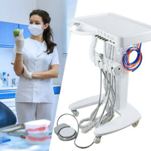 Dental Portable Mobile Treatment Work Table 4 hole Cart Unit System Weak Suction