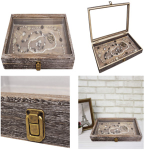 Display Box Wood Glass Top Lid Show Case For Jewelry Tray Watch Storage Orgnizer