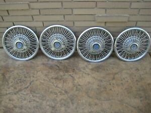 65 66 Ford Mustang Fairlane Wire Spoke Spinner Hubcaps 14 Covers 1965 1966