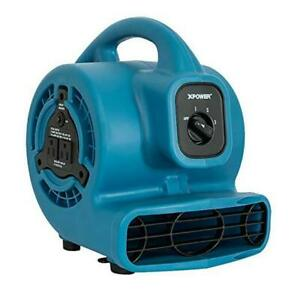 P 80a Mini Mighty Air Mover Utility Fan With Built in Power Outlets 1 Blue