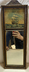 Vintage Trumeau Mirror With Sailing Ship