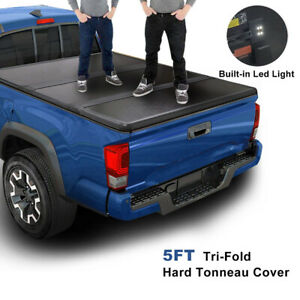 For 05 21 Nissan Frontier 5ft Short Bed Frp Hard Solid Tri Fold Tonneau Cover