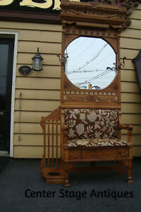 61614 Antique Victorian Oak Hall Seat Hatrack Coat Tree With Drawer