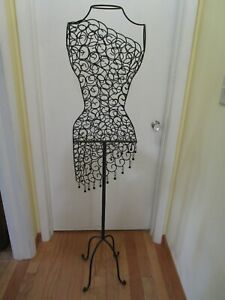 Metal Steel Mannequin Wire Black Dress Form Stand Display Hanging Beads 60 H