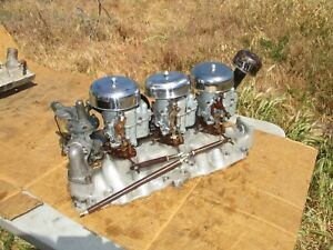 Edelbrock 3x2 Ford Flathead Intake Manifold Dual Carb With Holley Ford 94 s