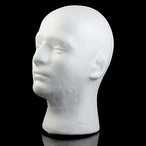 Male Heads Model Styrofoam Durable Foam Wig Stand For Exhibition Display Stand