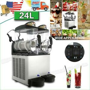 Commercial 24l Slush Making Machine Frozen Drink Machine Ice Maker 2 Tanks