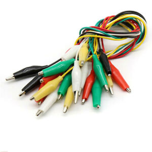 Double Electric Ended Alligator Crocodile Clips Test Lead Jumper Wires Cable 10