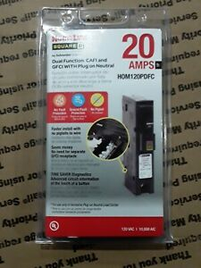 Square D Hom120pdfc Homeline 20 Amp Dual Cafi Gfci Plug on Neutral New