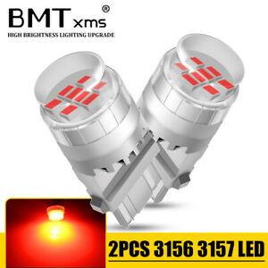 2x Led Brake Tail Signal Light Bulbs Red 3157 3156 For Chevy Tahoe 2000 2014