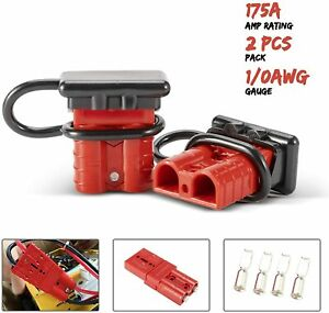 2pcs 175a Battery Wire Plug Kit Battery Cable Quick Connect Disconnect Plug Red