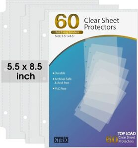 Heavyweight Sheet Protectors 5 5 X 8 5 Inches Clear Page Protectors 3ring Binder