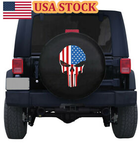 Spare Tire Cover 14 Waterproof Flag Skull Protector Pad For Jeep Wrangler