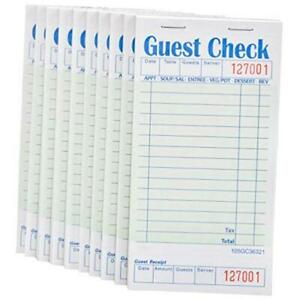 Guest Check Book 10 Books 3 5 X 6 75 Server Note Pads And Waitress Green
