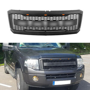 Fit 2007 2014 Ford Expedition Grille Raptor Style Black Front Grill W Letter Led