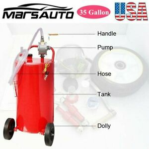 35 Gallon Gas Fuel Diesel Caddy Transfer Tank W 2 Front Caster rotary Hand Pump