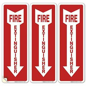 3 Pack Fire Extinguisher Sign Fire Extinguisher Stickers 4x12 Inches 4 Mil