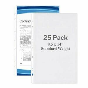 Dunwell Legal Size Sheet Protector Standard Weight 25 Pack 8 5x14 Legal Pa