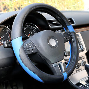 15 Inch Black Blue Microfiber Leather Auto Car Steering Wheel Cover