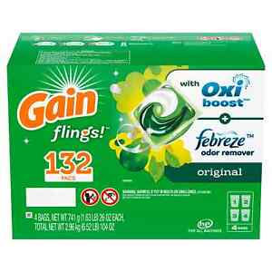Gain Flings aromaboost Laundry Detergent Pacs Original 132 Ct Free Shipping