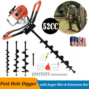 52cc 2 2hp Gas Powered Earth Auger Post Hole Digger Machine 4 6 8 Drill Bits
