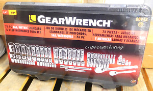 Gearwrench 80948 76 Piece Sae metric Deep Mechanics Tool Set 1 4 3 8 Drive