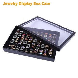 100 slots Jewelry Ring Display Organizer Case Tray Holder Earrings Storage Box