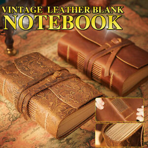 Leather Notebook Journal Diary Retro Classic Handmade Blank Paper Travel Writing