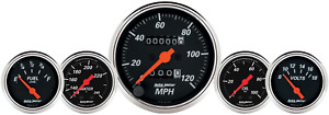 Auto Meter 1411 Designer Black Fuel oil speedo volt water 5 Gauge Set