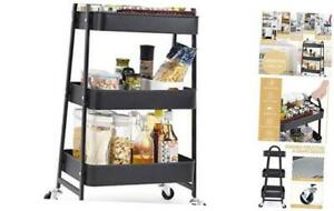 3 tier Utility Rolling Cart Serving Cart With Large Storage And Metal Black